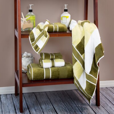 Oakville 100% Cotton 6 Piece Towel Set Color: Green