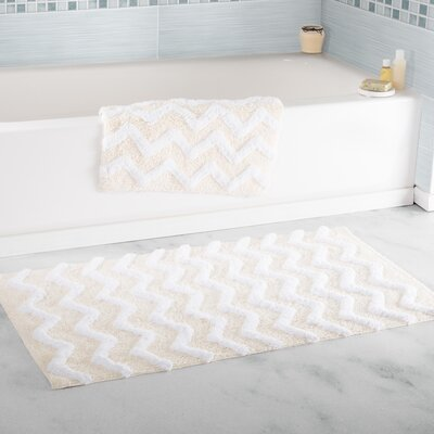 2 Piece Chevron Cotton Bath Mat Set Color: Bone