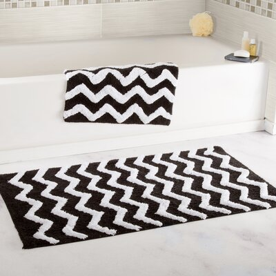 2 Piece Chevron Cotton Bath Mat Set Color: Black