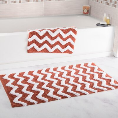 2 Piece Chevron Cotton Bath Mat Set Color: Brick