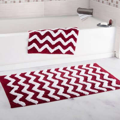 2 Piece Chevron Cotton Bath Mat Set Color: Burgundy
