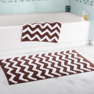 2 Piece Chevron Cotton Bath Mat Set Color: Chocolate