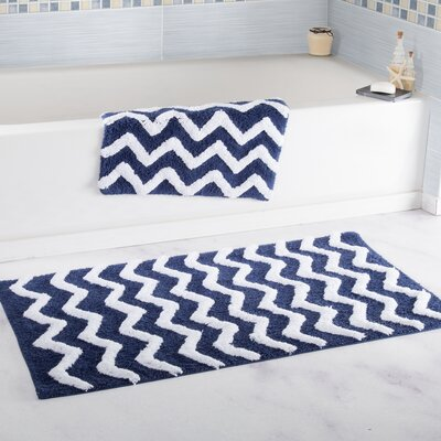 2 Piece Chevron Cotton Bath Mat Set Color: Navy
