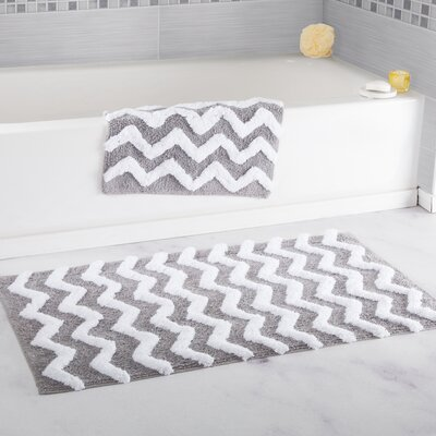 2 Piece Chevron Cotton Bath Mat Set Color: Silver