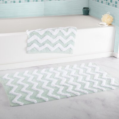 2 Piece Chevron Cotton Bath Mat Set Color: Seafoam