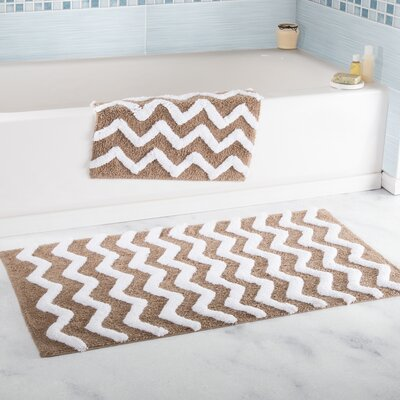2 Piece Chevron Cotton Bath Mat Set Color: Taupe