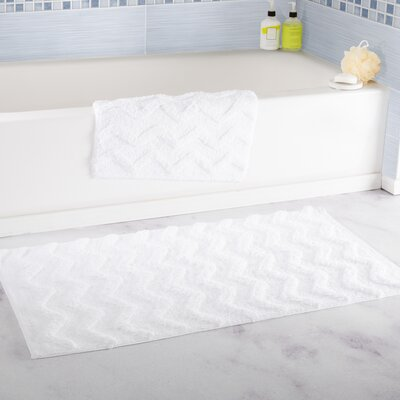 2 Piece Chevron Cotton Bath Mat Set Color: White
