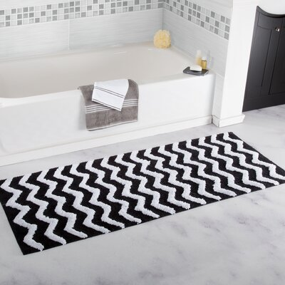 Doyle Chevron Cotton Bath Mat Color: Black