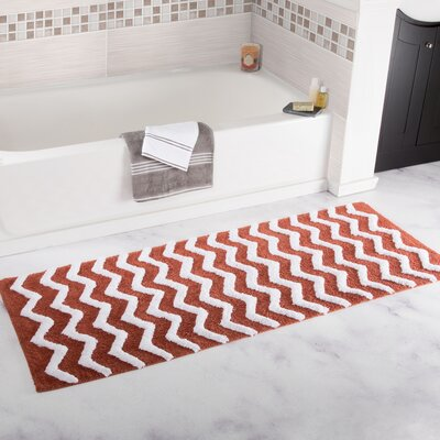 Doyle Chevron Cotton Bath Mat Color: Brick