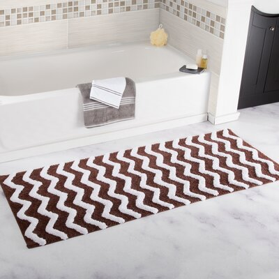 Chevron Cotton Bath Mat Color: Chocolate