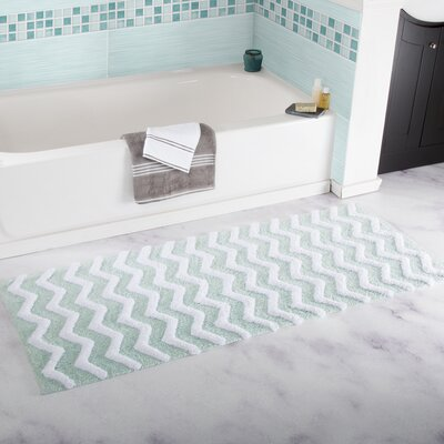 Chevron Cotton Bath Mat Color: Seafoam