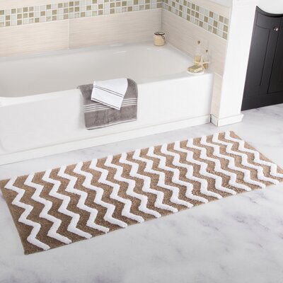 Chevron Cotton Bath Mat Color: Taupe
