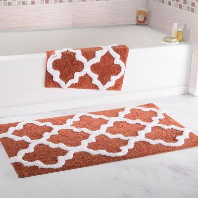 Garan 2 Piece Trellis Cotton Bath Mat Set Color: Brick