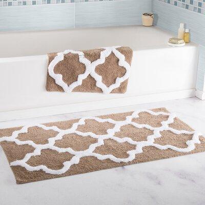 2 Piece Trellis Cotton Bath Mat Set Color: Taupe