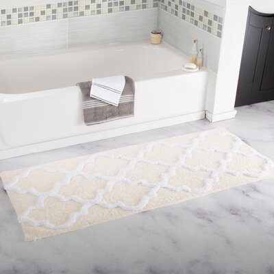 Gard Trellis Cotton Bath Mat Color: Bone
