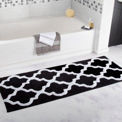 Trellis Cotton Bath Mat Color: Black