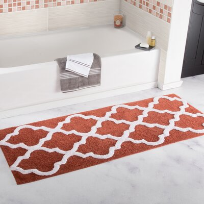 Trellis Cotton Bath Mat Color: Brick
