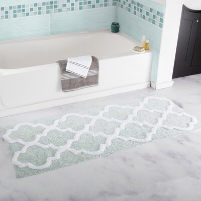 Gard Trellis Cotton Bath Mat Color: Seafoam