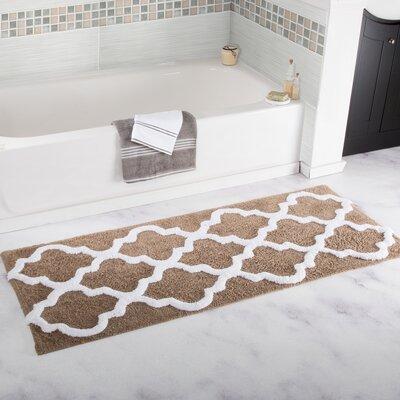 Trellis Cotton Bath Mat Color: Taupe