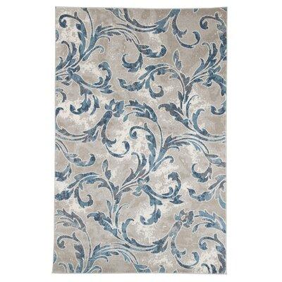 Ivory/Blue Area Rug Rug Size: 33 x 5