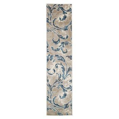 Ivory/Blue Area Rug Rug Size: Runner 18 x 7