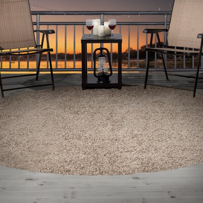 Taupe Indoor/Outdoor Area Rug Rug Size: Round 8