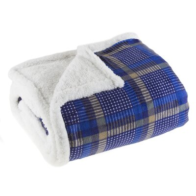 Plaid Sherpa Fleece Throw Blanket
