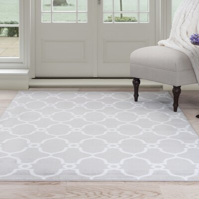 Lattice Gray Area Rug Rug Size: 4 x 6
