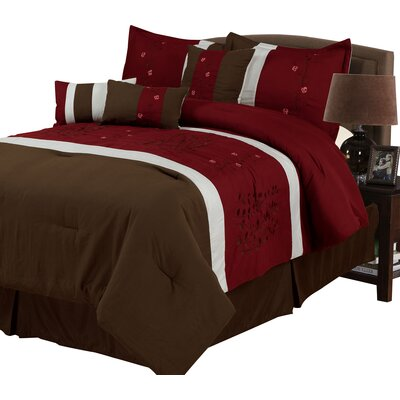 Sarah 7 Piece Comforter Set in Brown & Red Size: Queen