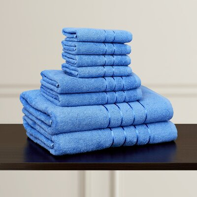 100% Egyptian-Quality Cotton Plush 8 Piece Towel Set Color: Blue