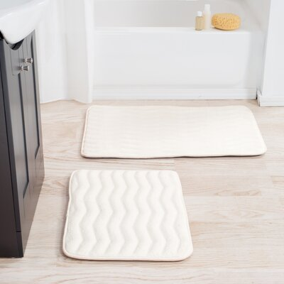 2 Piece Memory Foam Bath Mat Set Color: White