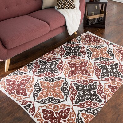 Roche Damask Motif Accent Hand-Woven Burgundy Area Rug