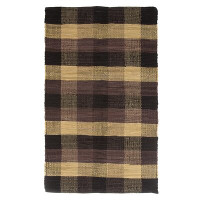 Brisbin Plaid Accent Hand-Woven Black Area Rug Rug Size: 23 x 39