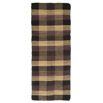 Brisbin Plaid Accent Hand-Woven Black Area Rug Rug Size: Rectangle 19 x 210