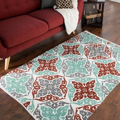 Roche Damask Motif Accent Hand-Woven Teal Area Rug