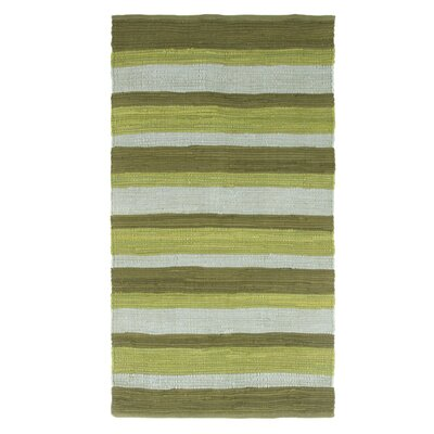 Sandeep Stripe Accent Hand-Woven Green Area Rug Rug Size: Rectangle 23 x 39