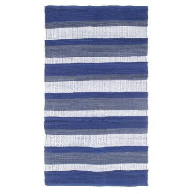 Sandeep Stripe Accent Hand-Woven Navy Blue Area Rug Rug Size: 23 x 39