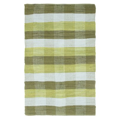 Brisbin Plaid Accent Hand-Woven Green Area Rug Rug Size: 23 x 39