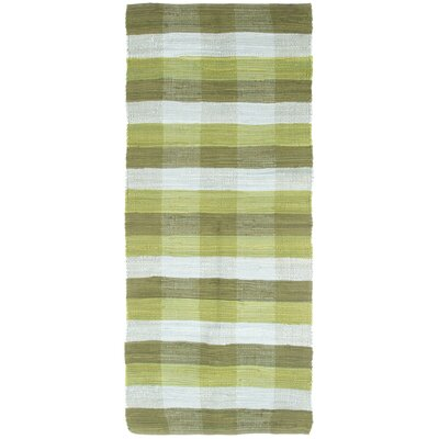 Brisbin Plaid Accent Hand-Woven Green Area Rug Rug Size: 19 x 210
