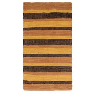 Sandeep Stripe Accent Hand-Woven Orange Area Rug Rug Size: 23 x 39