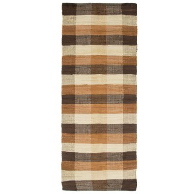 Brisbin Plaid Accent Hand-Woven Taupe Area Rug Rug Size: 19 x 210