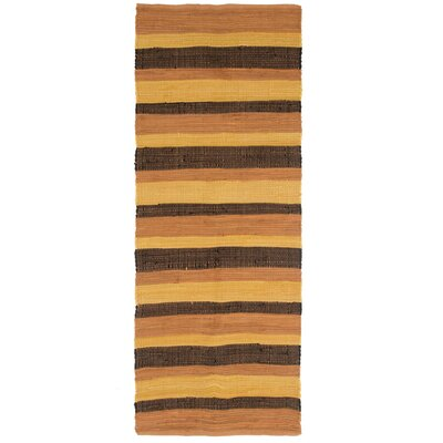 Sandeep Stripe Accent Hand-Woven Orange Area Rug Rug Size: 19 x 210