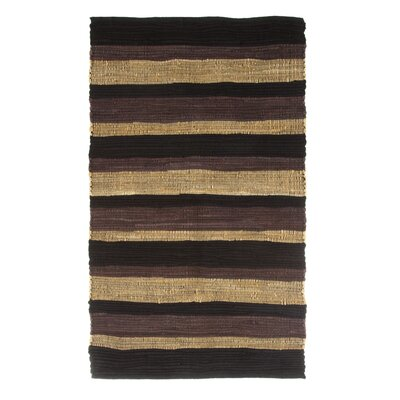 Sandeep Stripe Accent Hand-Woven Black Area Rug Rug Size: Rectangle 23 x 39
