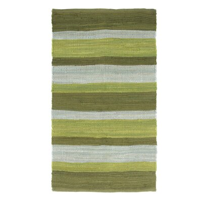 Sandeep Stripe Accent Hand-Woven Green Area Rug Rug Size: 2 x 5