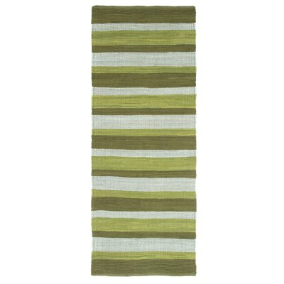 Sandeep Stripe Accent Hand-Woven Green Area Rug Rug Size: Rectangle 19 x 210