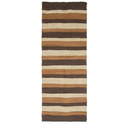Sandeep Stripe Accent Hand-Woven Taupe Area Rug Rug Size: 19 x 210
