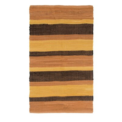 Sandeep Stripe Accent Hand-Woven Orange Area Rug Rug Size: 2 x 5