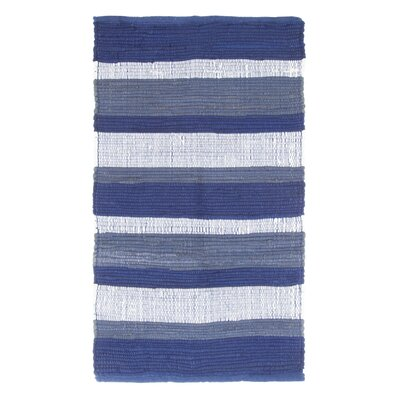 Sandeep Stripe Accent Hand-Woven Navy Blue Area Rug Rug Size: Rectangle 2 x 5