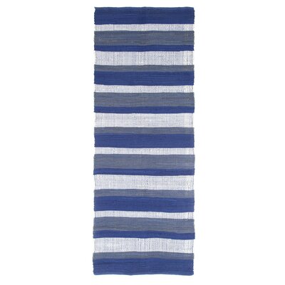 Sandeep Stripe Accent Hand-Woven Navy Blue Area Rug Rug Size: Rectangle 19 x 210