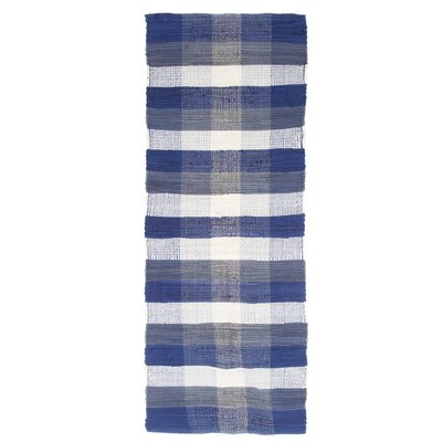 Brisbin Plaid Accent Hand-Woven Navy Blue Area Rug Rug Size: Rectangle 19 x 210